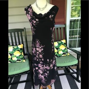 AGB Dress Black with Heather Flowers  Size 10